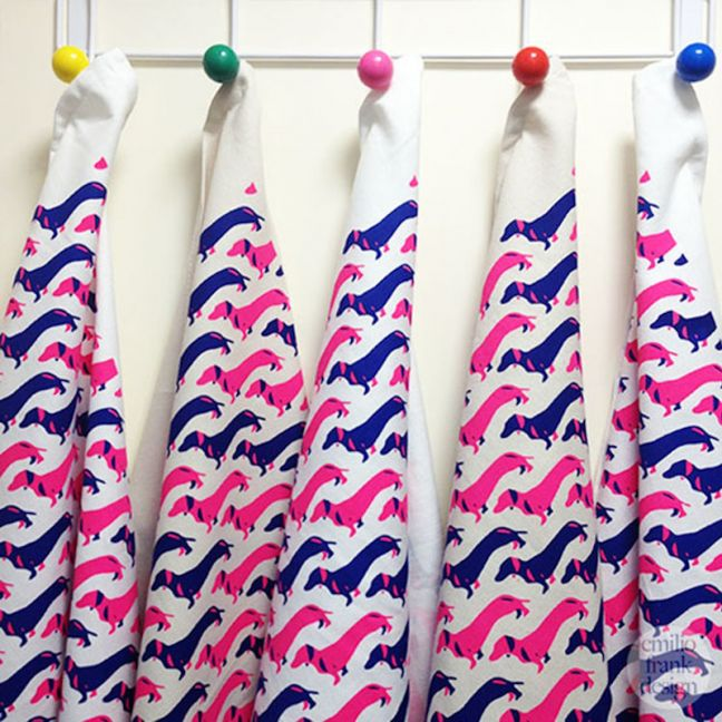 Schnitzel the Dachshund | Neon pink & Indigo Tea Towel | White Base