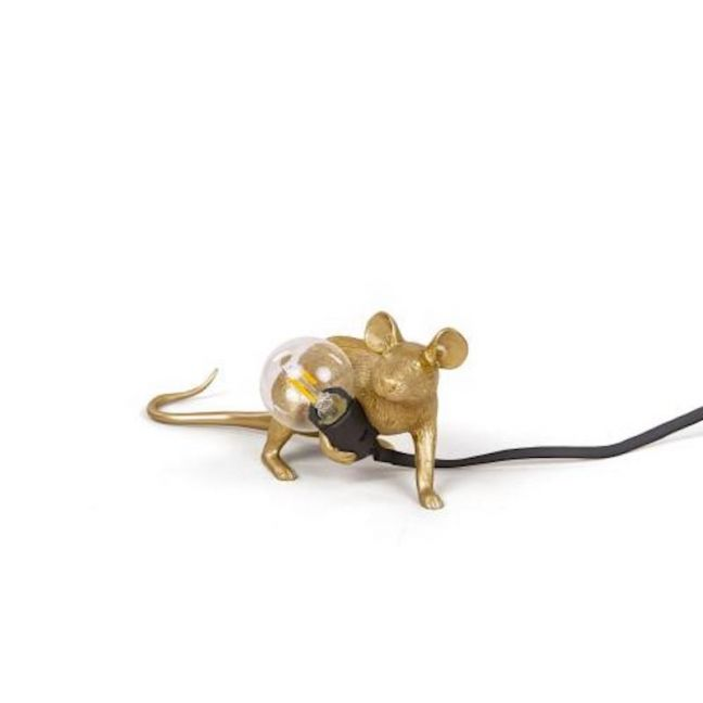 Seletti Mouse Lamp Lying Down | Gold Lop