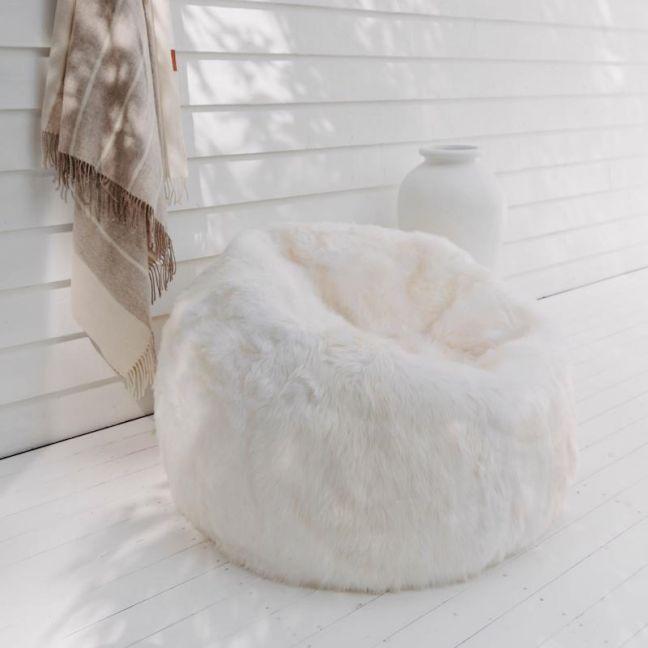 Sheepskin Bean Bag   Ivory   Huxford Grove