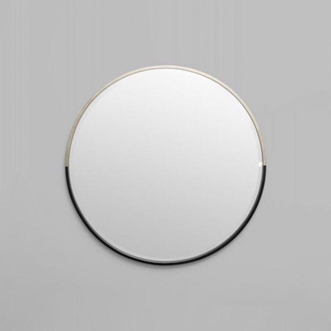 Silver and Black Round Mirror