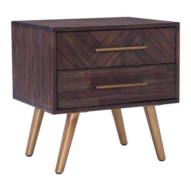 SIVAN Bedside Table   Acacia Solid Wood   Brown