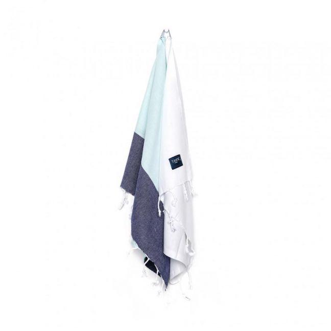 SJOR Hand & Kitchen Towel Set Of 2   Mint, White & Navy