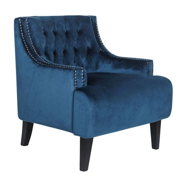 Skyler Tufted Occasional Chair | Navy, Dove Grey, Charcoal, Black Velvet or Ice Blue