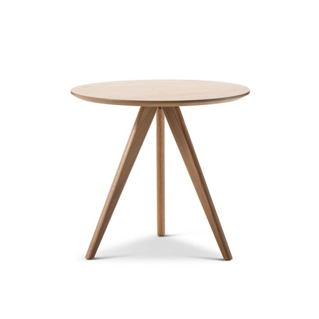 Slate Round Oak Side Table