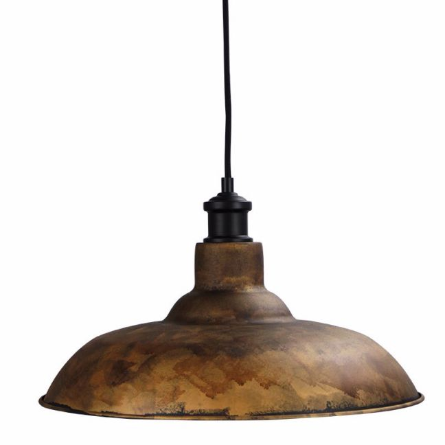 Slater Rusty steel finish shade with Albany suspension in black