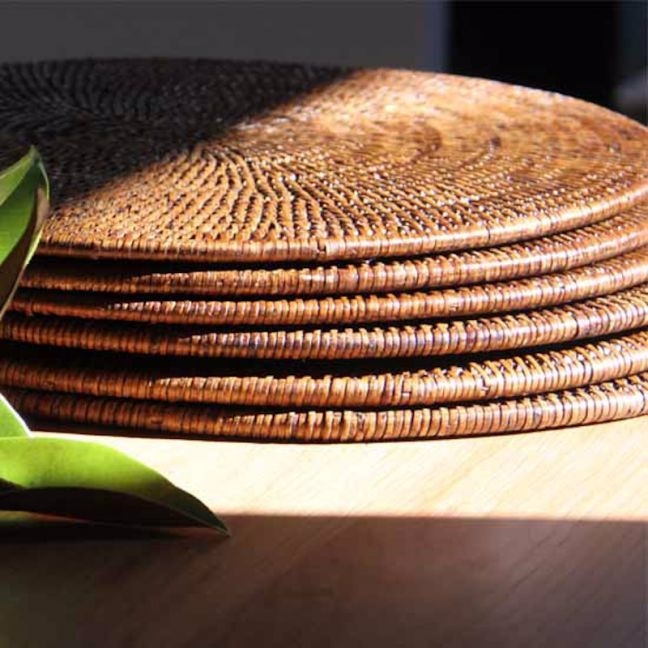 Solid Rattan Round Placemats 30cm | Set of 6 | Antique Brown by SATARA
