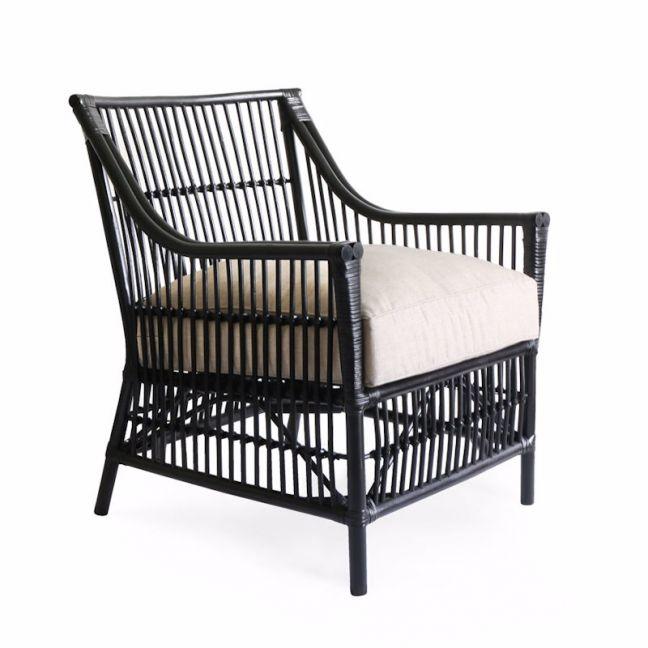 Sorrento Rattan Lounge Chair   Black   By Black Mango