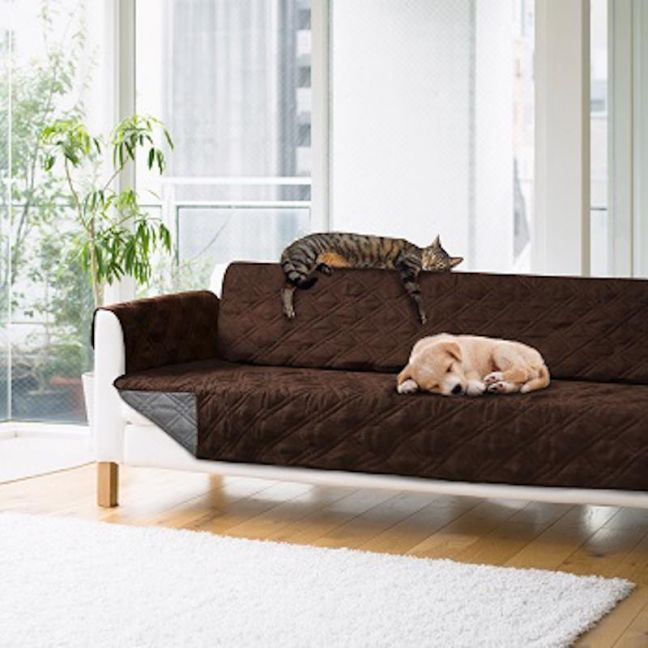 Sprint Industries Pet's Sofa Cover | Chocolate/Charcoal Reversible | Love Seat