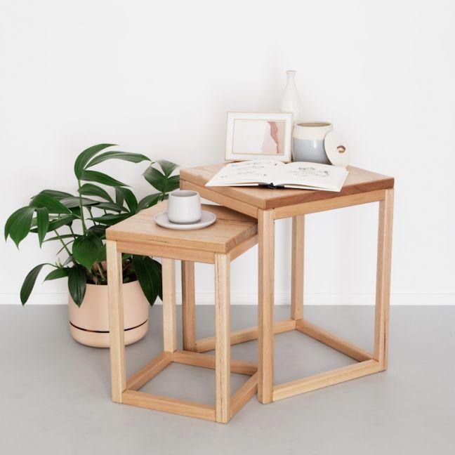 Square Nesting Tables   Victorian Ash   Jemmervale Designs
