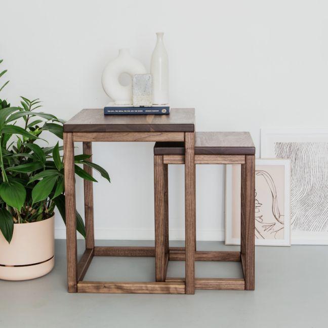 Square Nesting Tables   Walnut   Jemmervale Designs