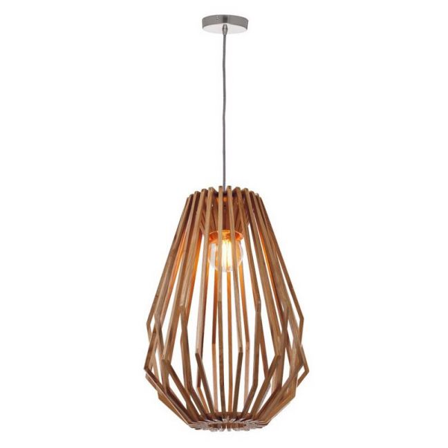 Stockholm 1 Light Tall Flair Pendant in Natural Wood | By Beacon Lighting