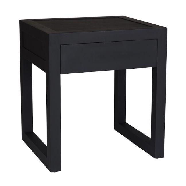 Strand Pedestal Bedside Table | Black
