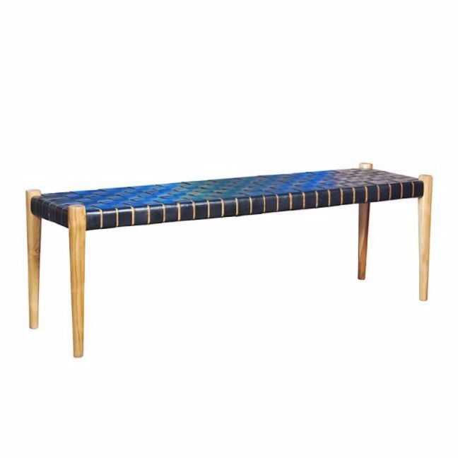 Strapped Leather Bench | Black