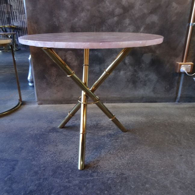 Strike Roze Quartz Side Table | Gold Metal Frame