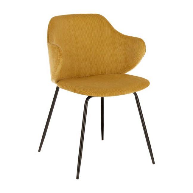 Suanne Velveteen Chair | Mustard-Yellow