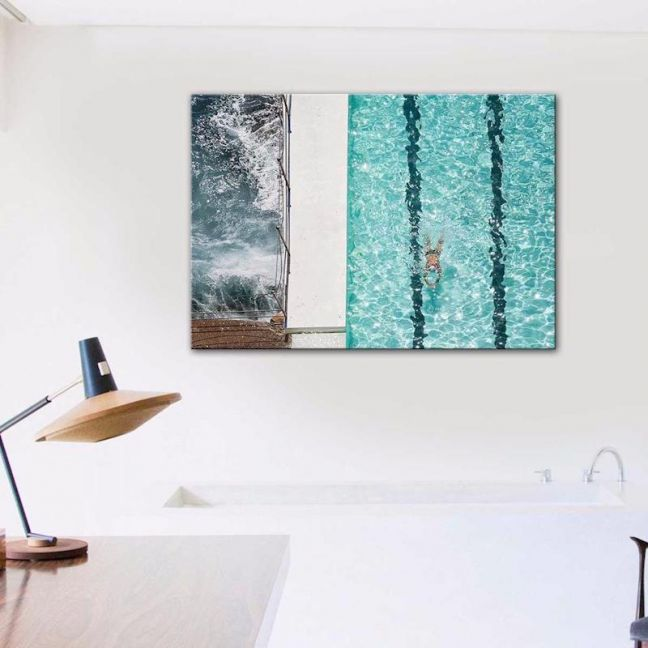 Swim By The Beach | Canvas Print By United Interiors