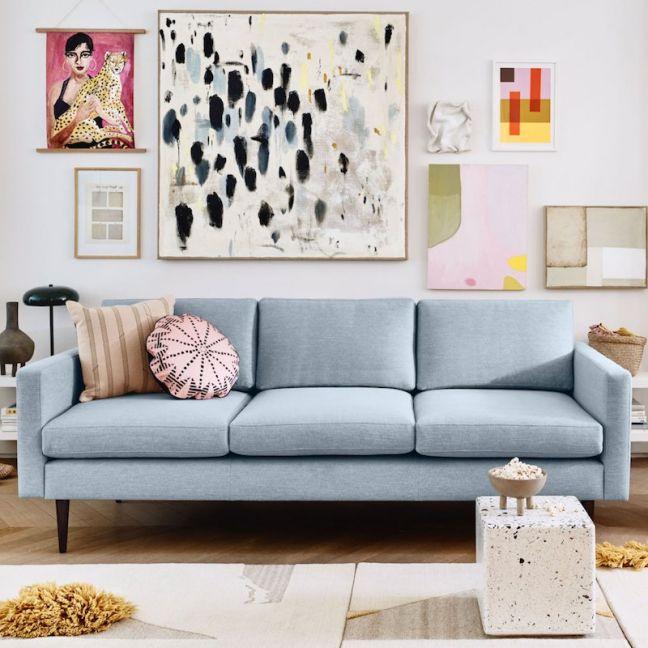 Swyft   Model 01 Linen 3 Seater Sofa   Seaglass