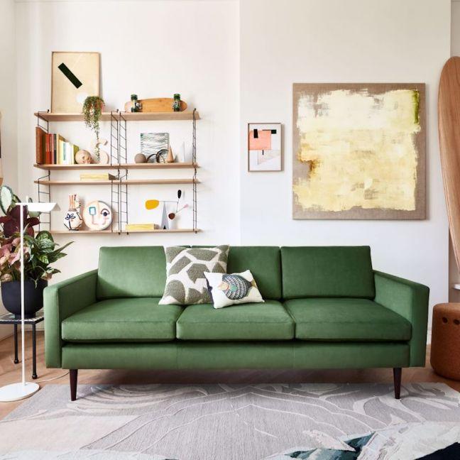 Swyft   Model 01 Velvet 3 Seater Sofa   Vine