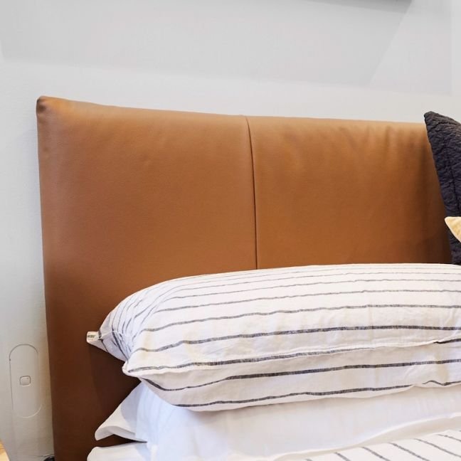 Tan Leather Upholstered Bedhead | All Sizes | Other Colours Available | Custom Made by Martini Furni