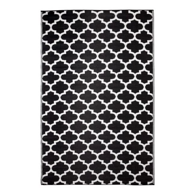 Tangier Black   Recycled Plastic Outdoor Rug