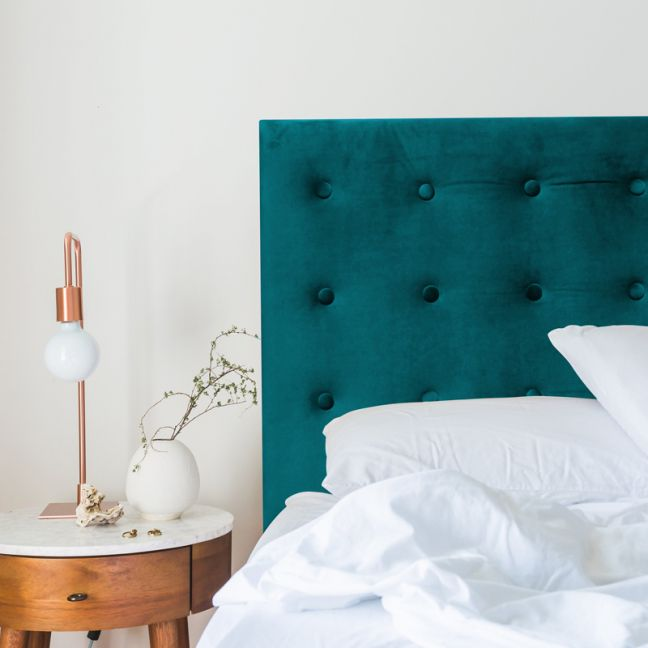 Teal Velvet Buttoned Upholstered Bedhead   All Sizes   Custom Made by Martini Furniture