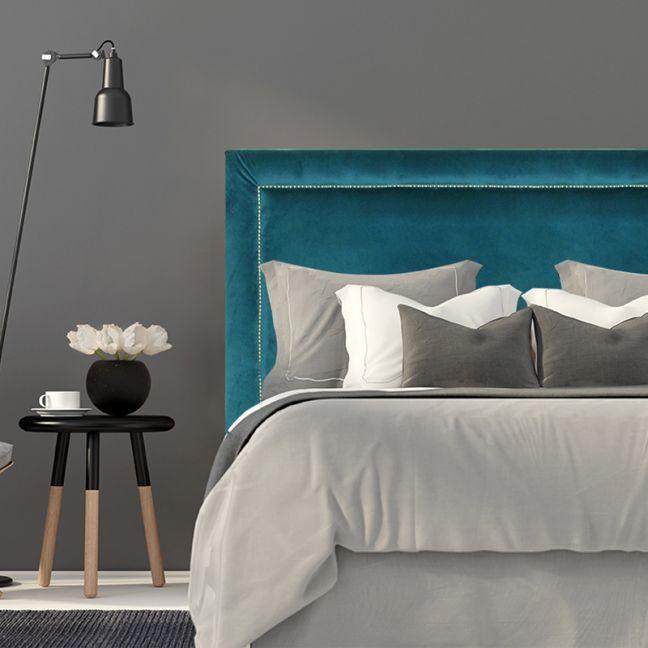Teal Velvet Studded Upholstered Bedhead   All Sizes   Custom Made by Martini Furniture