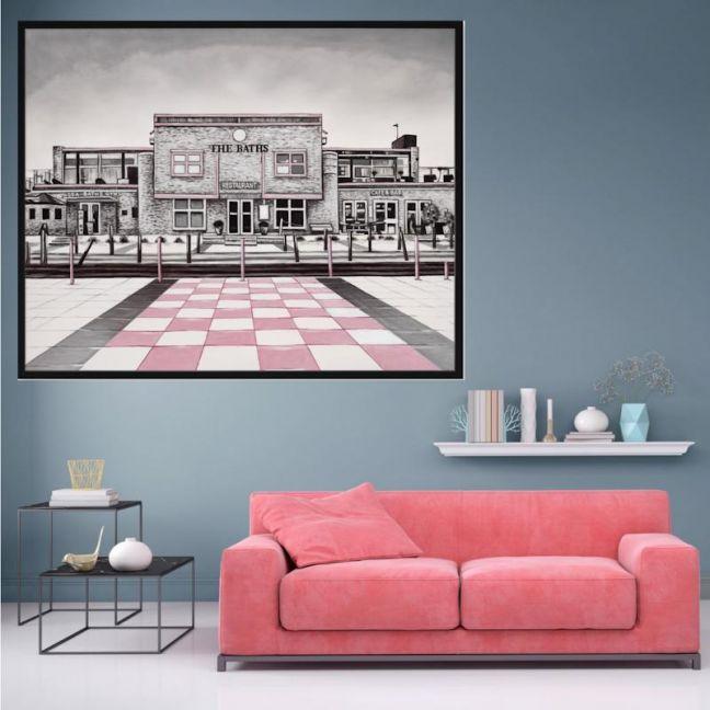 The Baths | P7022-Pink | Framed Canvas Print | Colour Clash Studio