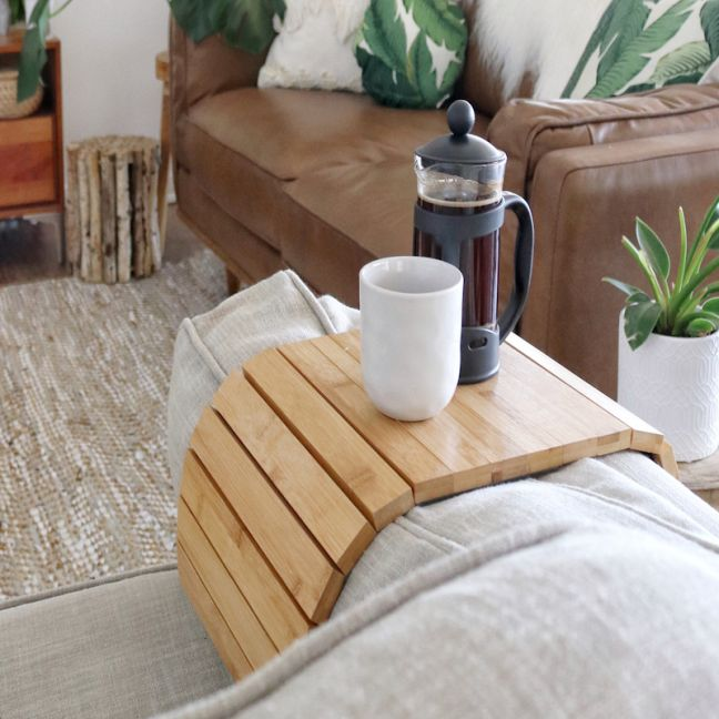 The Best Selling Bamboo Multi-Fit Couch Arm Table   2 Pack