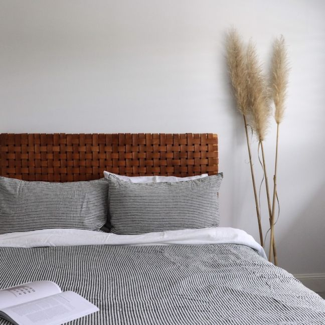 The Fern Headboard | Antique Tan Leather | Queen | by Coco Unika