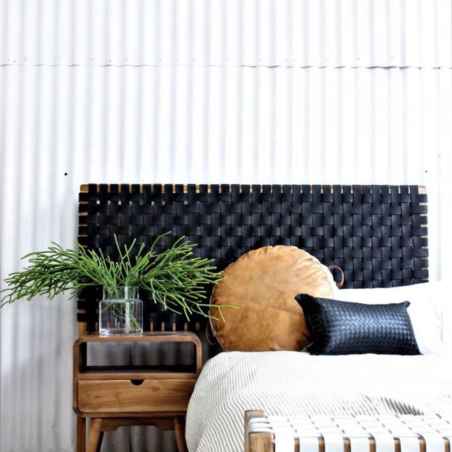 The Fern Headboard | Black Soot Leather | Queen Size | by Coco Unika