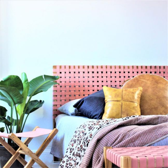 The Fern Headboard | Blush Rose Leather | Queen | by Coco Unika