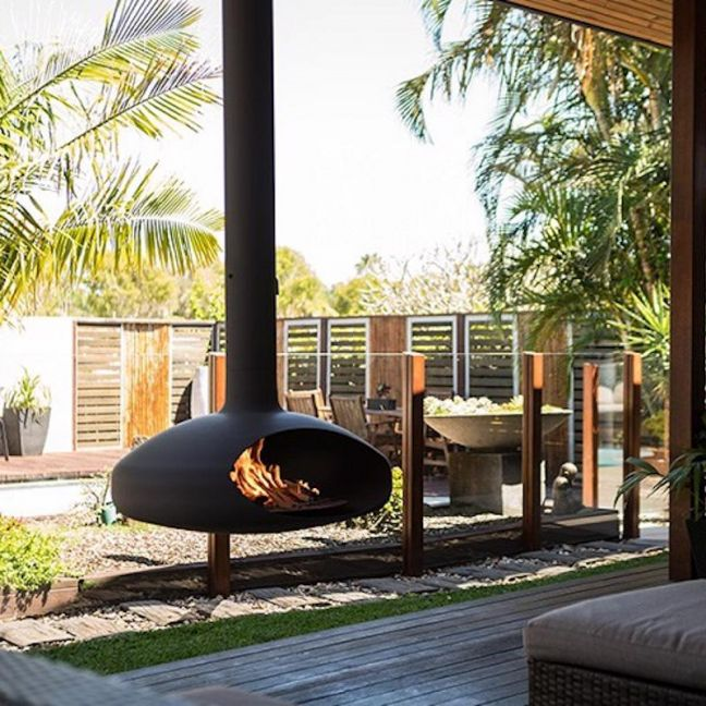 The Hearth Suspended Fireplace   Wood Burning