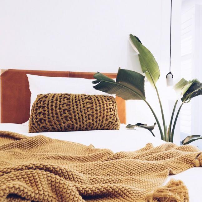 The Leather Bedhead   Single Tan - SAMPLE SALE