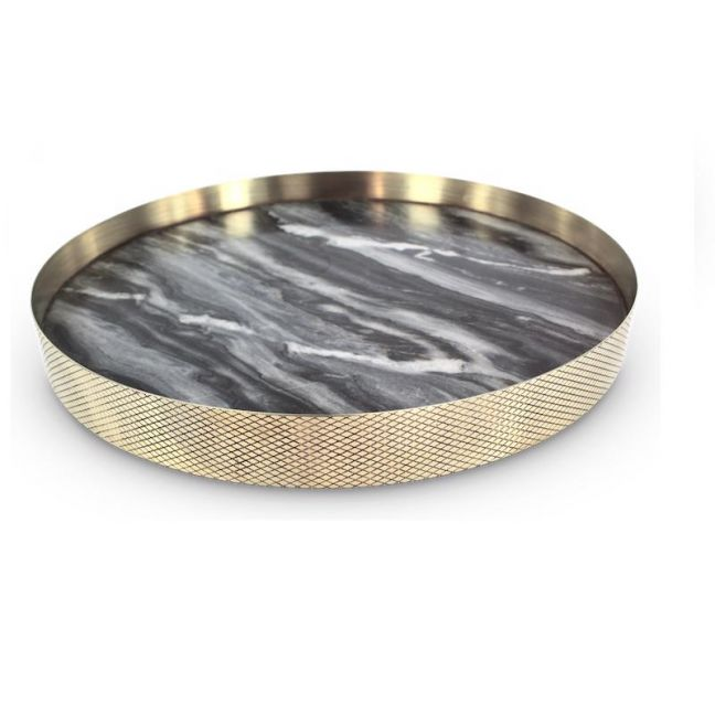 The Orbit Tray   Smokey Marble and Diamond Pattern Brass   Large