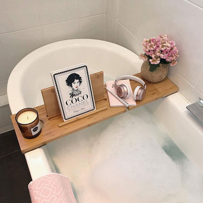 The Relax-a-Mate Premium Bamboo Bath Caddy Shelf | by Couchmate | (PRE ORDER)