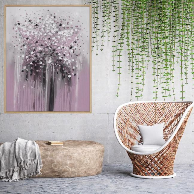 The Star | Framed Canvas Print | C1021-1A DUSTY PINK | Colour Clash Studio