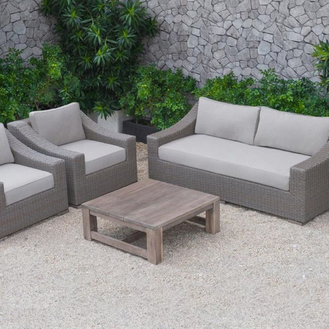 The Wave Rattan Sofa Set Coffee Table | Wooden Outdoor Coffee Table | Style Temple
