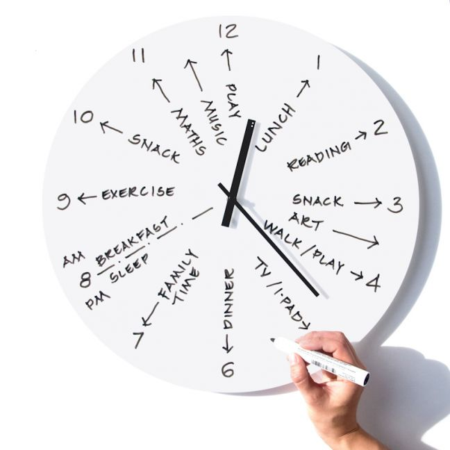 TOO-Do Day planner wall clock: White with black hands