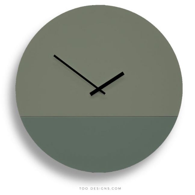 TOO tone wall clocks by TOO designs - Eucalyptus Green and Forest Green