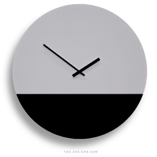 TOO tone wall clocks by TOO designs - Grey and Black