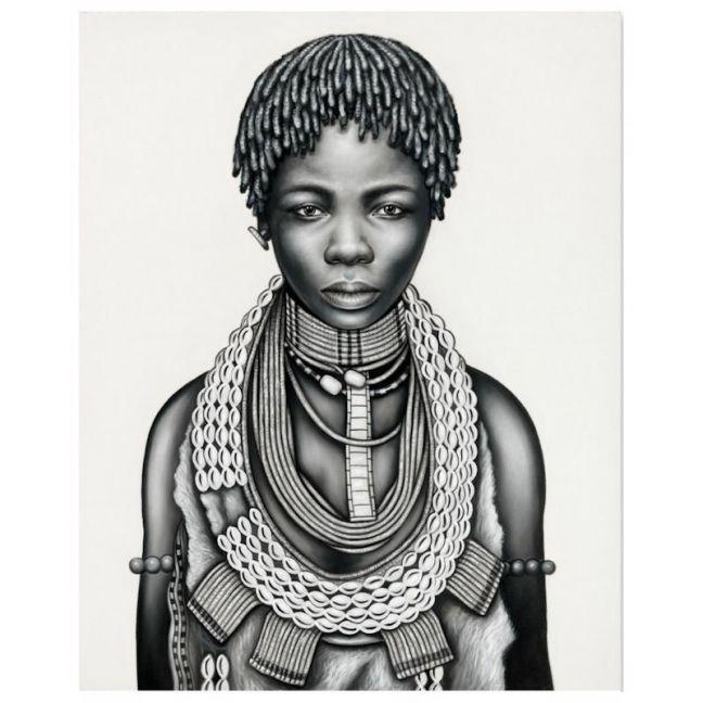 Tribal Girl with Dreadlocks | P3029-Mono | Canvas Print | Colour Clash Studio