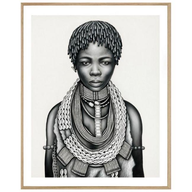 Tribal Girl with Dreadlocks | P3029 Mono | Framed Print | Colour Clash Studio