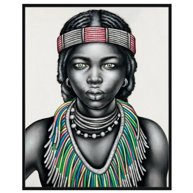 Tribal Girl with Lip Ring | P3027-Multi-Coloured | Framed Canvas Print | Colour Clash Studio