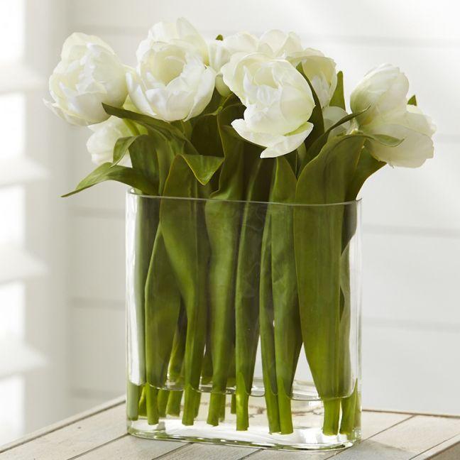 Tulips in Water Vase | White