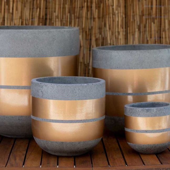 U Shaped Planter   Grey Terrazzo With Gold Ribbons