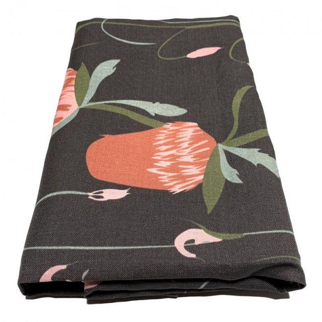 Untamed Banksia Black Linen Tablecloth   By Tim Neve