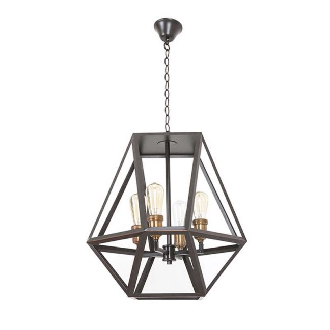 Vaille 4 Light Pendant in Oil Rubbed Bronze | By Beacon Lighting