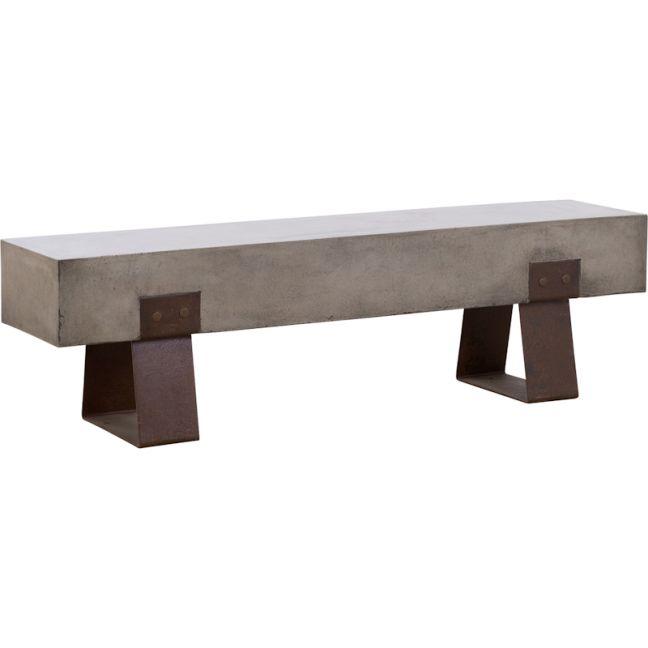 Vault 160cm Concrete Bench   Dark Grey & Rust