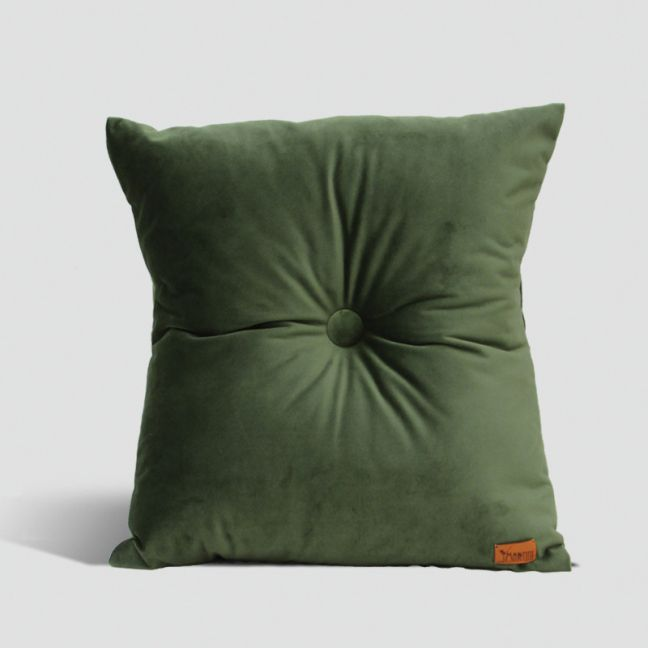 Velvet Cushion with Centre Button Detail   41 x 41cm   Insert Included   Olive Green