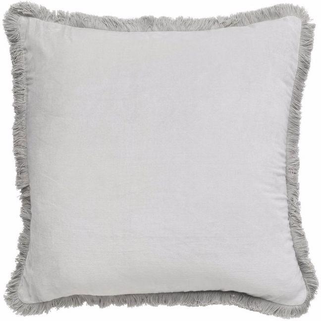 Velvet Fringe Cushion | Silver